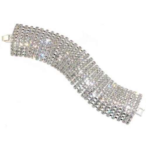 10 Row Rhinestone Bracelet, Sparkly Cuff, Bust Magazine, Life And Style, In Crystal With Silver Finish