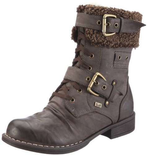 Kadie Ladies' Brown Leather Lace Up Military Ankle Boots 95124 Dark Brown 5 / 38