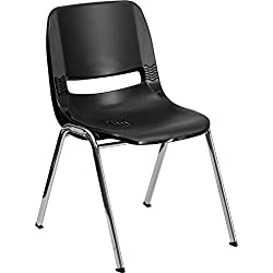 HERCULES Series 440 lb. Capacity Ergonomic Shell Stack Chair with 14'' Seat Height Black Shell with Chrome Frame by Flash Furniture