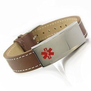 """MyIDDr - Peanut Allergy Alert Brown Leather Medical ID Bracelet, PRE-ENGRAVED 5.25""""-6.75"""""""