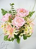 Artificial Silk Flower Peony Mum Eucalyptus Berry Arrangement (Baby Pink) from GT Decorations