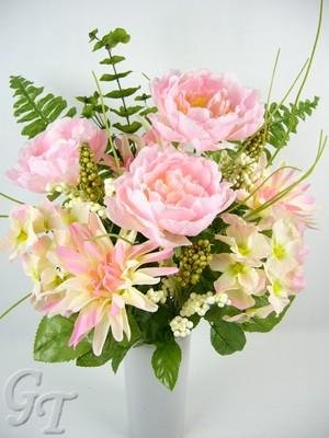 Artificial Silk Flower Peony Mum Eucalyptus Berry Arrangement (Baby Pink) from GT Decorations