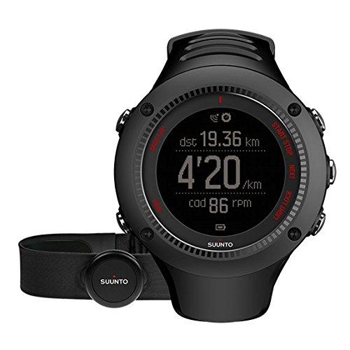 Suunto AMBIT3 RUN HR SS021257000 Orologio GPS, Unisex, Pensato per i Runner, Fino a 15 Ore di Durata della Batteria, Monitoraggio Frequenza Cardiaca + Fascia Cardio, Resistente all'Acqua Fino a 50 m, Taglia M, Nero