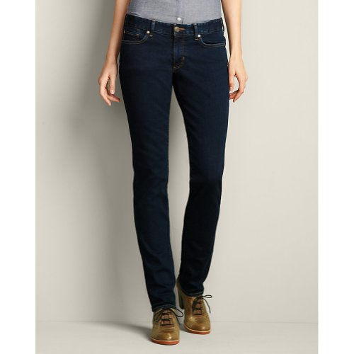 Eddie Bauer Eddie Bauer Womens Slightly Curvy Straight Leg Jeans - StayShape®, Deep Rinse 8