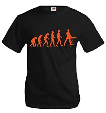 T-Shirt The Evolution of keyboard-S-Black-Orange