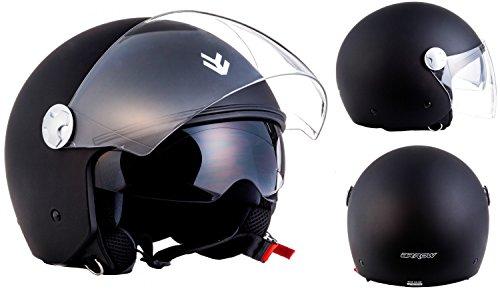 ARROW AV-63 matt black - Jet Urbano Casco helmet Vespa Pilot Halfface + visera parasolenero ECE certified nero - S