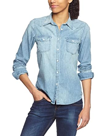 maison scotch damen jeanshemd 13251220702 western shirt 6 oz japanese denim gr 36 1. Black Bedroom Furniture Sets. Home Design Ideas
