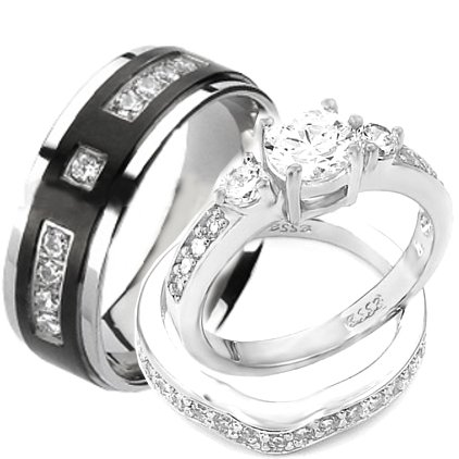 Wedding Rings Set His And Hers Titanium & Stainless Steel Engagement Bridal Rings Set (Size Men'S 11 Women'S 9)