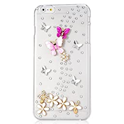 iPod Touch (5th Generation) Case, STENES Luxurious Crystal 3D Handmade Sparkle Diamond Rhinestone Clear Cover with Retro Bowknot Anti Dust Plug - Dance Butterfly Flowers / Colorful