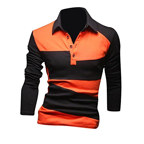 Jeansian Uomo Camicie Sport Manica Lunga Tee Moda Men Casuale Slim Fashion T-Shirts Polo D404 Orange M