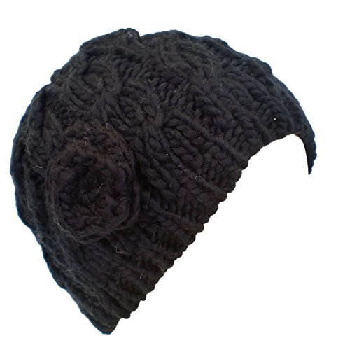 Ladies Cable Knit Beanie Hat  Crochet Rose BLACK