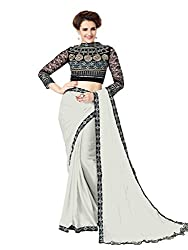 Onlinefayda Women's Georgette Saree with Blouse Piece (Grey)