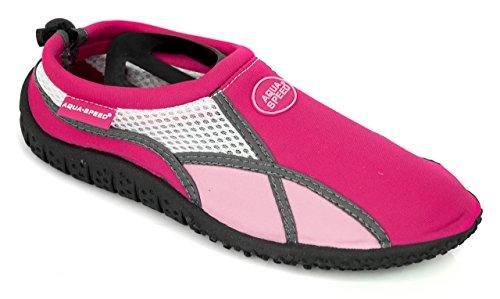 AQUA-SPEED® SCARPE di AQUA Modello 17 A/B (35-45 Unisex Struttura Anti-scivolo Coulisse + UP®-Catena chiave), Colour:Pink;Size:36