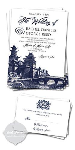 Customized wedding invitations/Wedding Invitation Cards/Navy Blue/ Set of 10 (Peacock Wedding Programs compare prices)
