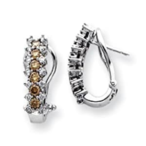 14k Gold White Gold White & Champagne Diamond Earrings