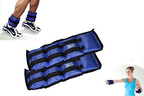 Coppia di pesi da 1,5 a 4 kg per caviglie e polsi fitness e jogging allenamento cavigliere o polsiere. MWS (3 KG)