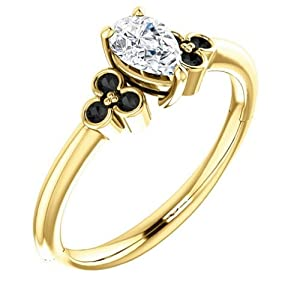 18K Yellow Gold Pear Cut White and Black Diamond Engagement Ring