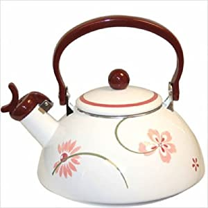Bundle-19 Square Pretty Pink Whistling Tea Kettle 80 oz. with Optional Accessories (2 Pieces)