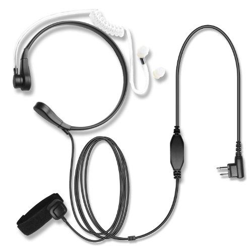 Hypario®-Throat Mic Covert Acoustic Tube Earpiece For Motorola Radios 2 Pin Walkie Talkie 2 Prong