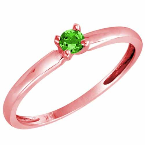 DivaDiamonds 10ct Rose Gold Round Solitaire Peridot Ring (0.25 ctw) - Size Q