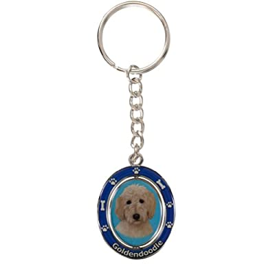 "Goldendoodle Key Chain ""Spinning Pet Key Chains""Double Sided Spinning Center With Goldendoodles Face Made Of Heavy Quality Metal Unique Stylish Goldendoodle Gifts"