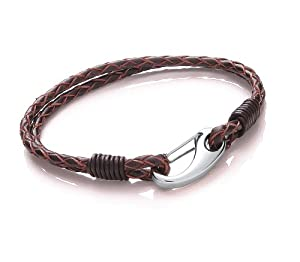 Tribal Steel Mens 21cm Brown Leather 2-strand Bracelet With Stainless Steel Shrimp Clasp from Tribal Steel