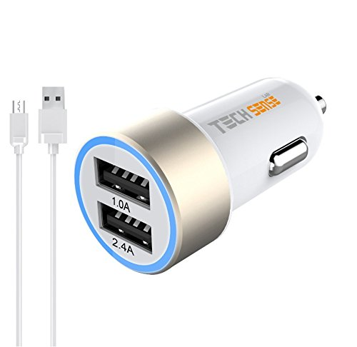 Tech Sense Lab 3.4 Amp Dual USB Car Charger For Apple iPhone, Samsung, Micromax, HTC, Nokia, OnePlus, Xiaomi & All Other Smartphones And Tablets - Smallest Car Charger With 2 Fast Charging USB Ports - Gold