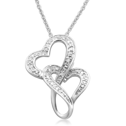 Sterling Silver Double Interlocked Heart Pendant Necklace (0.07 cttw, I-J Color, I3 Clarity), 18
