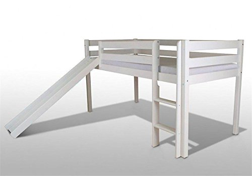 Kinderbett-Kinderhochbett-Hochbett-Bett-Rutsche-90x200cm-kieferwei-mit-stoff-Pink