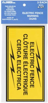 Woodstream A-12T Electric Fence Warning Sign, Yellow & Black Plastic, 3-Pk. - Quantity 10