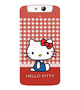 printtech Kitty Cat Back Case Cover for Oppo N1