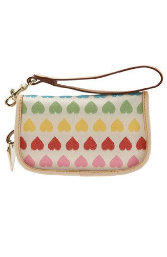 Dooney Bourke Rainbow Heart Flap Wristlet Case Bag for IPOD White