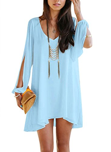 PAKULA Womens Off Shoulder V-neck A-line Mini Strapless Loose Casual Dress,Light Blue,Medium