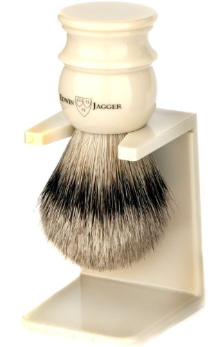 Edwin Jagger Handmade Imitation Ivory English Shaving Brush With Silver Tip Badger Hair And Drip Stand