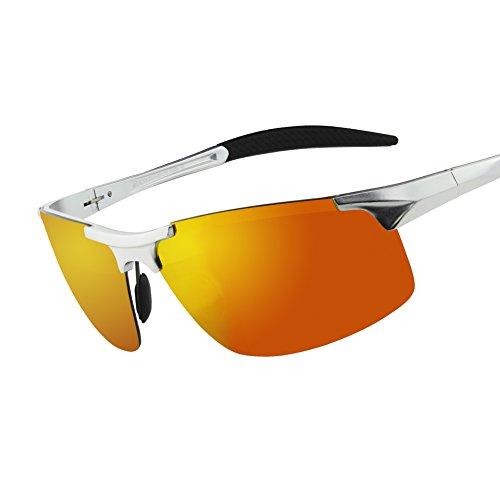 7eaf995deb7 Duco Men s Sports Style Polarized Sunglasses Driver Glasses 8177S (Silver  Frame Revo Gold Lens)