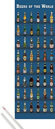 Poster + Sospensione : Birra Door Poster (158x53 cm) Beers Of The World e Coppia di barre porta poster trasparente 1art1®