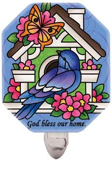 Nightlight-NL4019R-Birdhouse/God bless our home. - 1