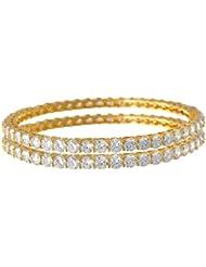 JFL - Traditional Fusion Ethnic Cz American Diamond Designer One Gram Gold Plated Bangles For Women & Girls