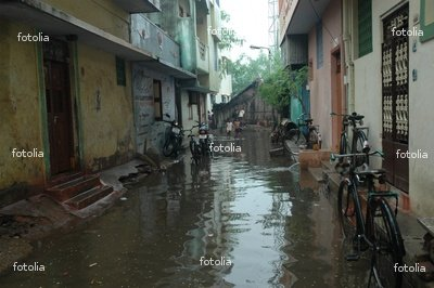 "Wallmonkeys Peel and Stick Wall Decals - Flooded Street in Chennai Rain - 18""W x 12""H Removable Graphic"