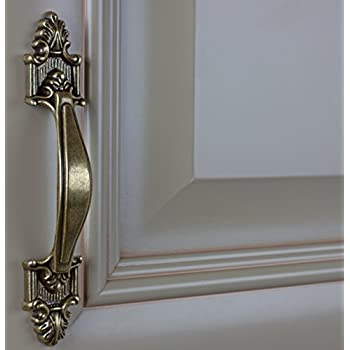 "GlideRite Hardware 4116-AB-10 Classic Deco Cabinet Pull, 10 Pack, 3.5"", Antique Brass"