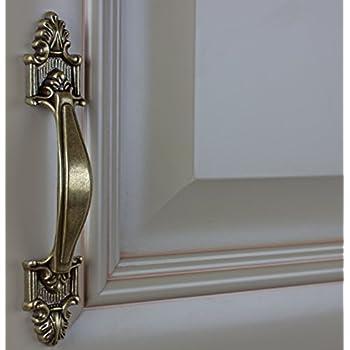 "GlideRite Hardware 4116-AB-10 Classic Deco Cabinet Pull, 10 Pack, 3.5"", Antique Brass"