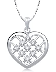 Meenaz Heart Pendant With Chain Silver Plated For Girls And Women PS144