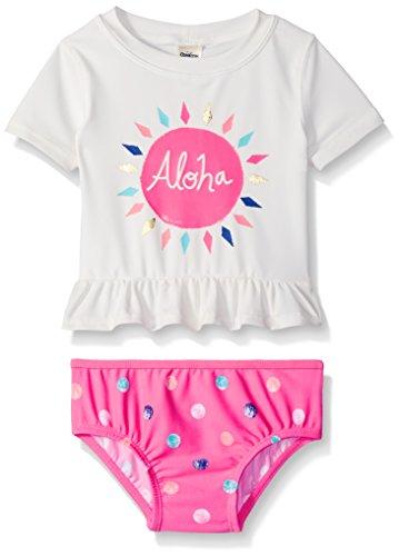OshKosh Baby Girls' Peplum Short Sleeve Rash Guard Set, White, 12 Months