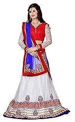 Jiya Presents Embroidered Net Lehenga Choli(White,Red)