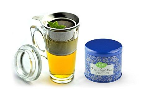 Asobu Tea Party Mug With Heart And Soul Mate Tea, 15-Ounce, Clear