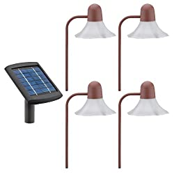 Malibu Solar Two White LED Metal Walk Light 4 Pack with Remote Panel, Rustic Brick, #LZ31RP4