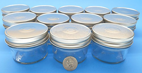 (Set of 12) 4 oz Mason Jars with Smooth Sides -Easy to Label with Silver Finished Safety Button Lids, Regular Mouth