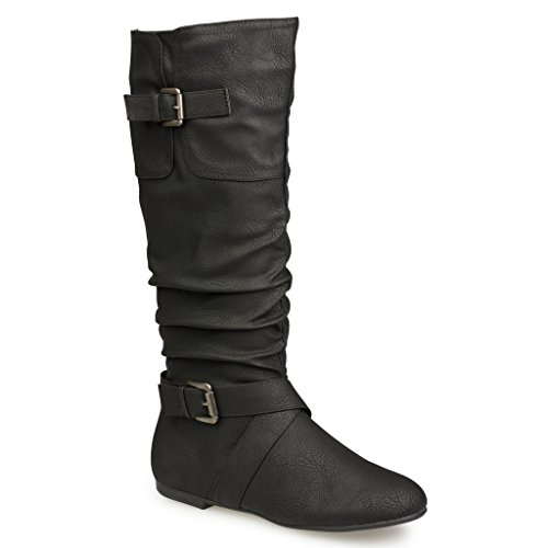 Twisted Women's Faux Leather Slouchy Buckle Strap Mid Calf Boots - BLACK, Size 8