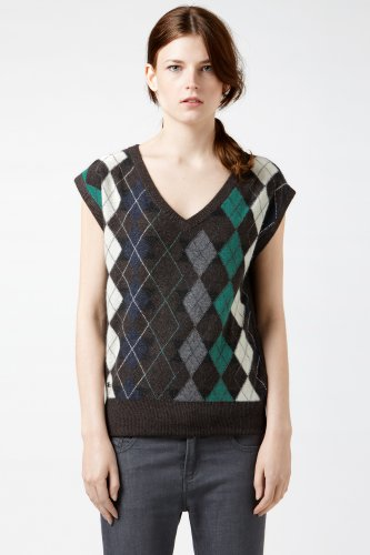 Short Sleeve V-neck Reverse Argyle Sweater