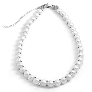 Sterling Silver 14 Inch+3 Inch Extention Cultured Freshwater Pearl Choker Necklace - JewelryWeb